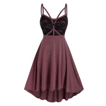 Plus Size Lace Insert Caged Strap Ring Cami Dress