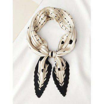 Dots Printed Satin Rhombic Pleated Scarf