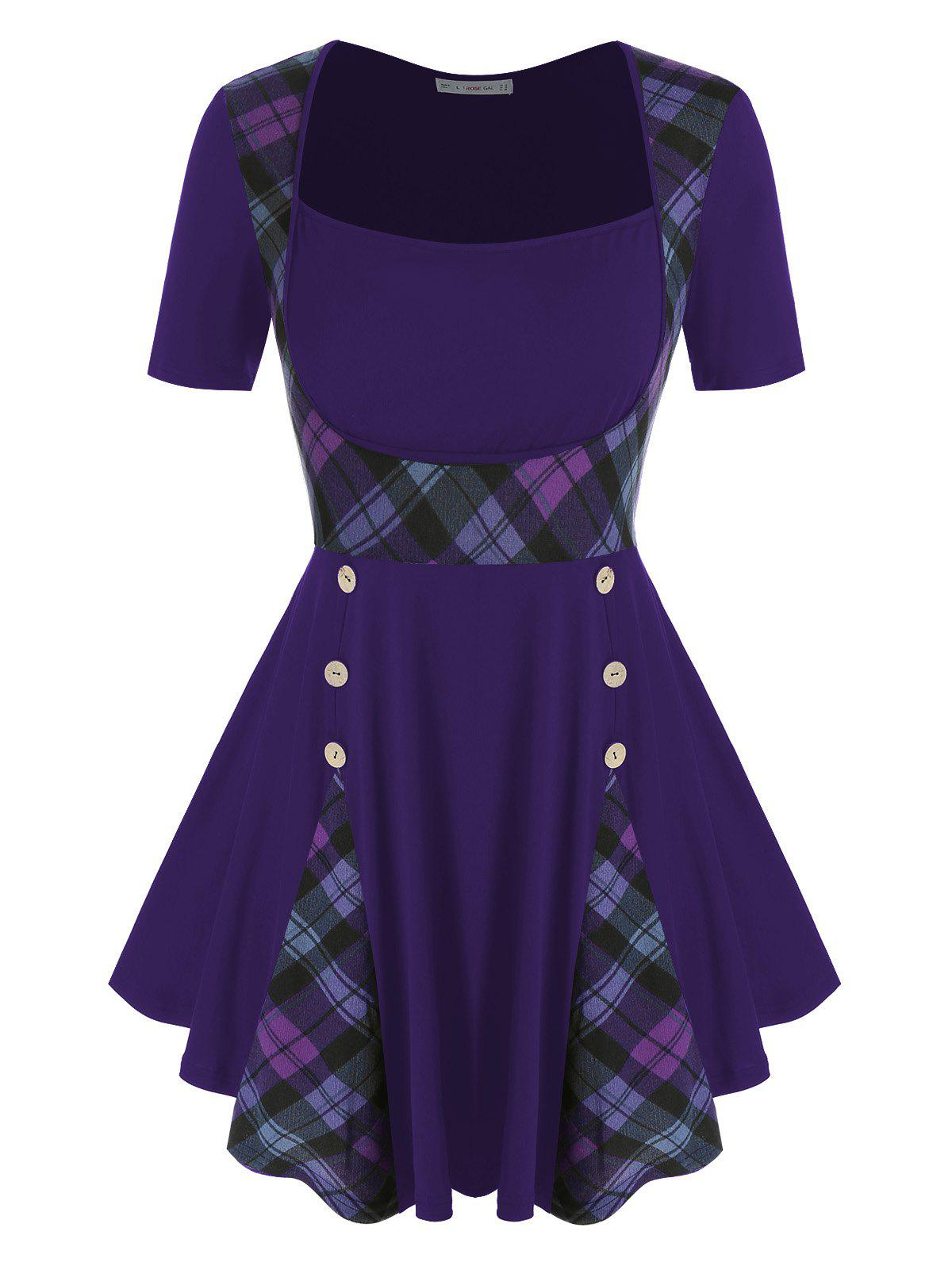 Plus Size Plaid Buttoned Skirted T Shirt - DARK ORCHID 5X