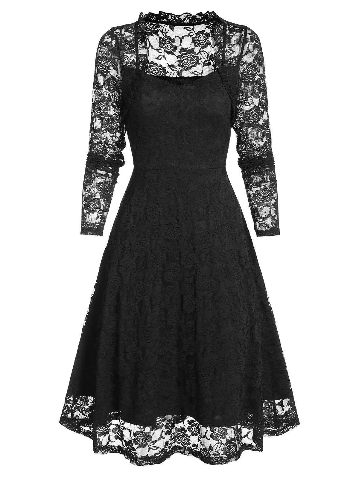 Floral Lace Ruffle Queen Anne Collar Dress - BLACK XL