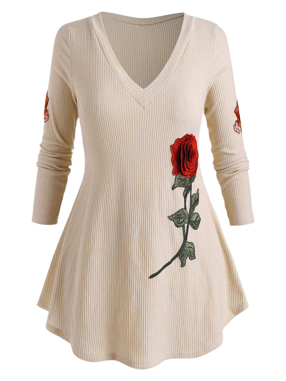 Plus Size Flower Embroidered Ribbed Round Hem Sweater - LIGHT COFFEE 5X