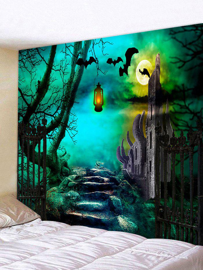 Halloween Night Stone Road Printed Wall Hanging Tapestry - MEDIUM TURQUOISE W91 X L71 INCH