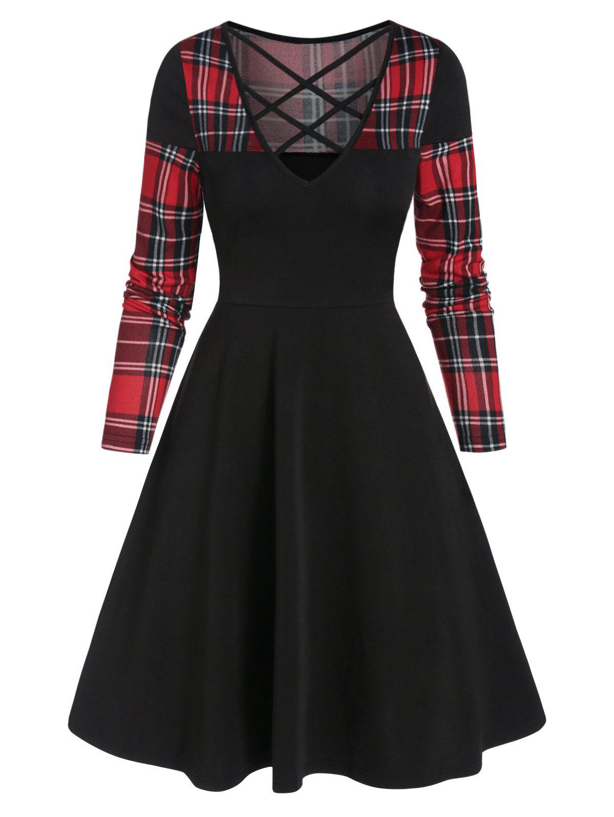 Checked Insert Criss Cross Mini High Waist Dress - BLACK M