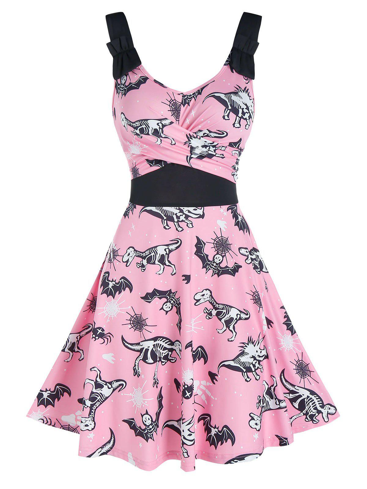 Halloween Animal Skeleton Print Sleeveless Crossover Dress - PINK M