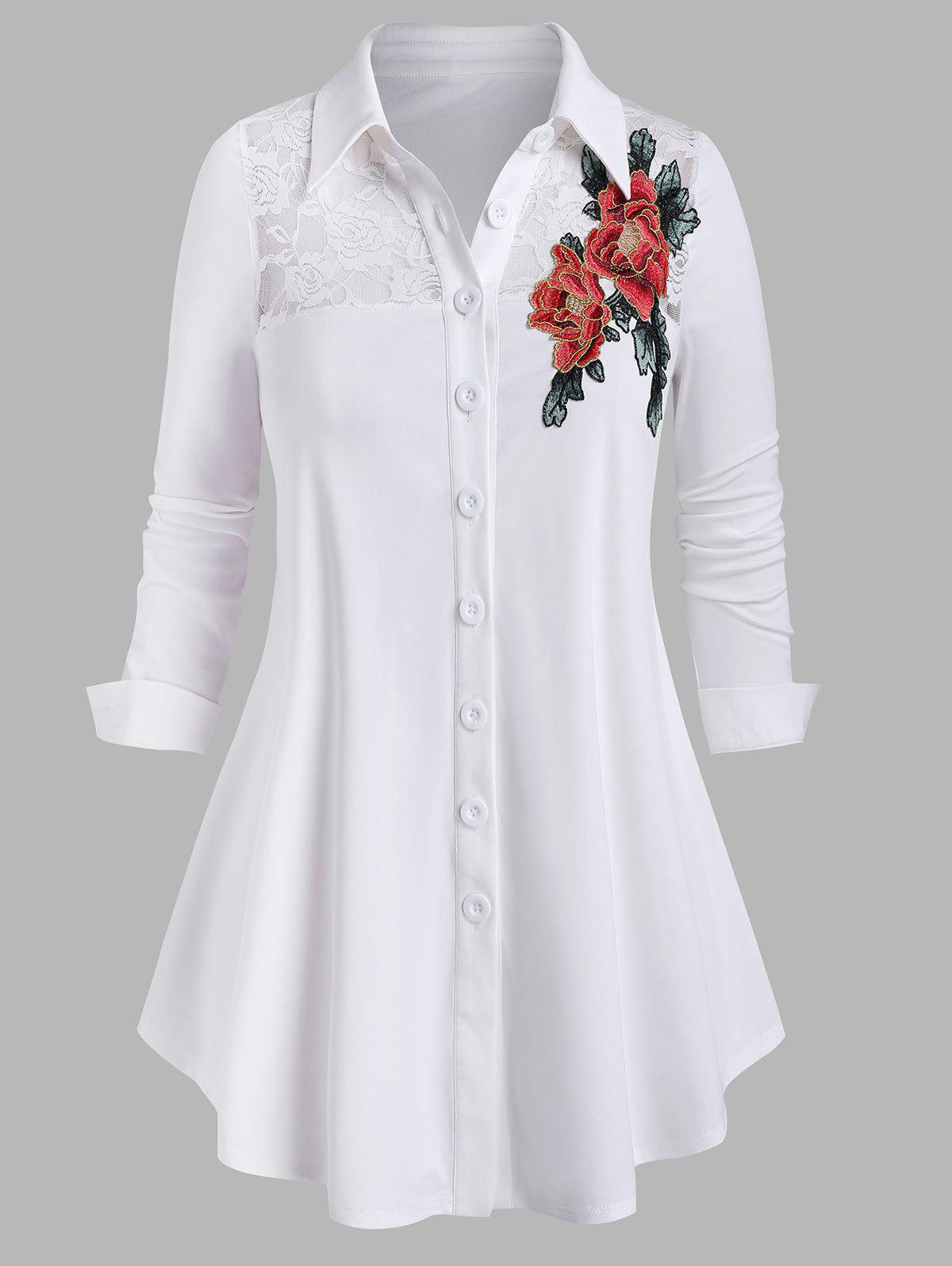 Plus Size Lace Sheer Yoke Flower Applique Shirt - WHITE 5X