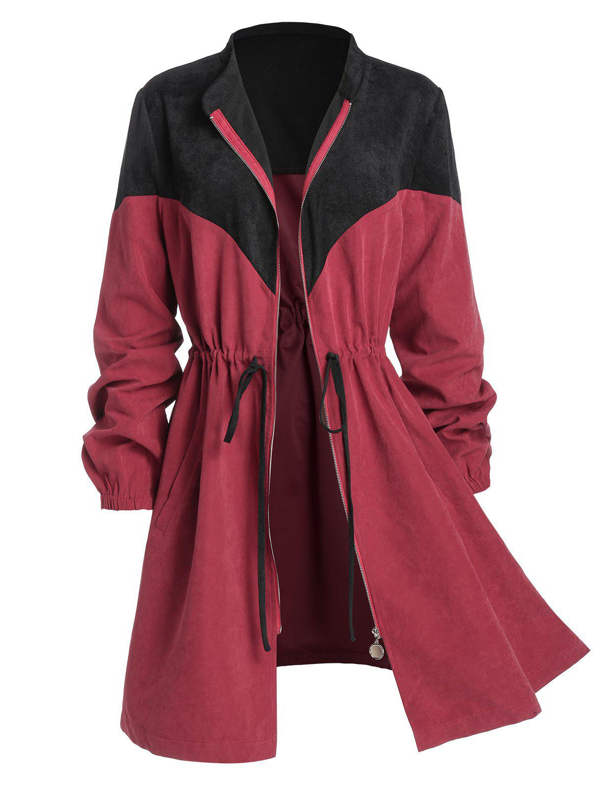Plus Size Corduroy Bicolor Drawstring Waist Zip Up Coat - RED WINE 5X