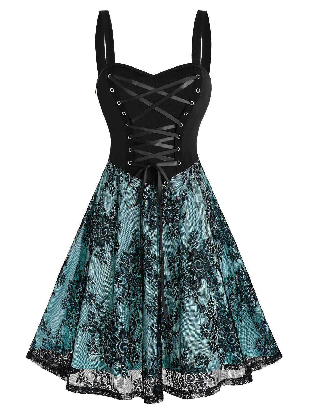 Sleeveless Lace-up Front Flower Lace Inert Gothic Dress - BLACK 1XL