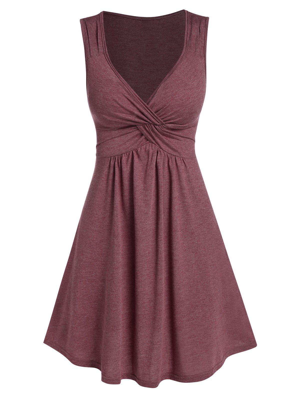 Front Knot Fit And Flare Dress - FIREBRICK L