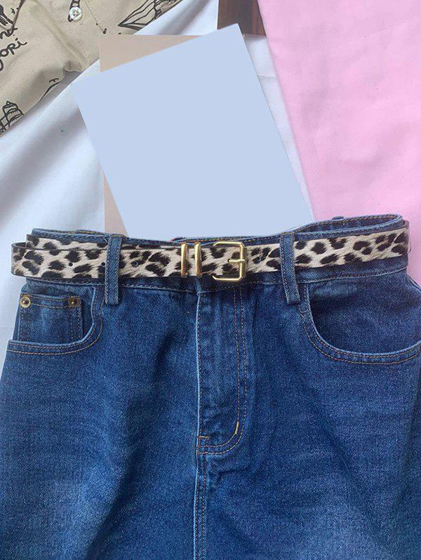 Leopard Pattern Thin Pin Buckle Belt - multicolor A