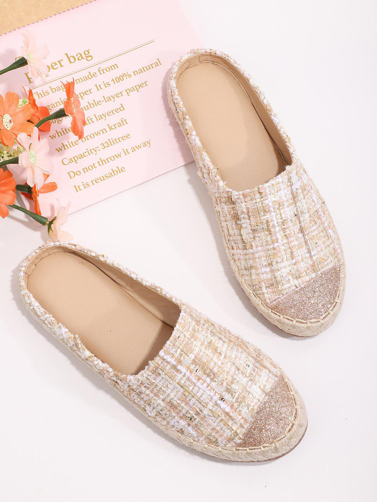 Shiny Toe Tweed Half Flat Shoes - SAKURA PINK EU 39