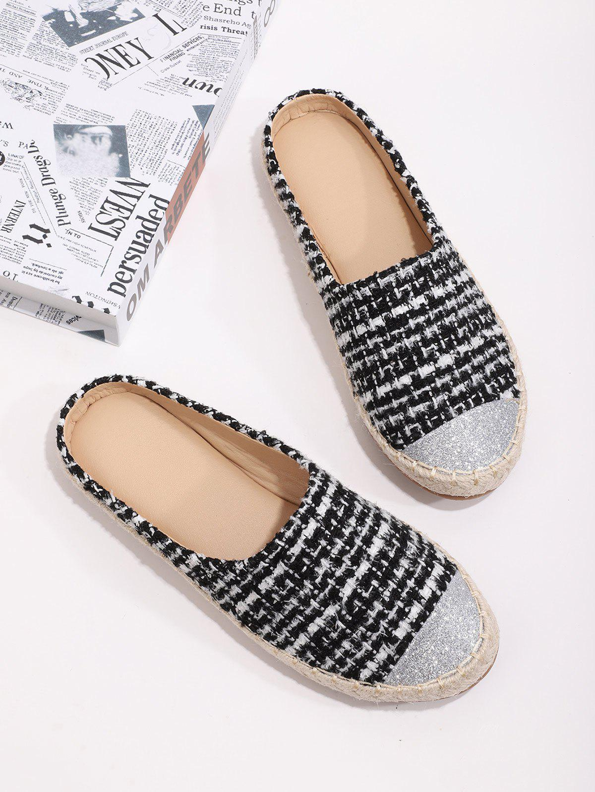 Shiny Toe Tweed Espadrilles Half Flat Shoes - BLACK EU 39