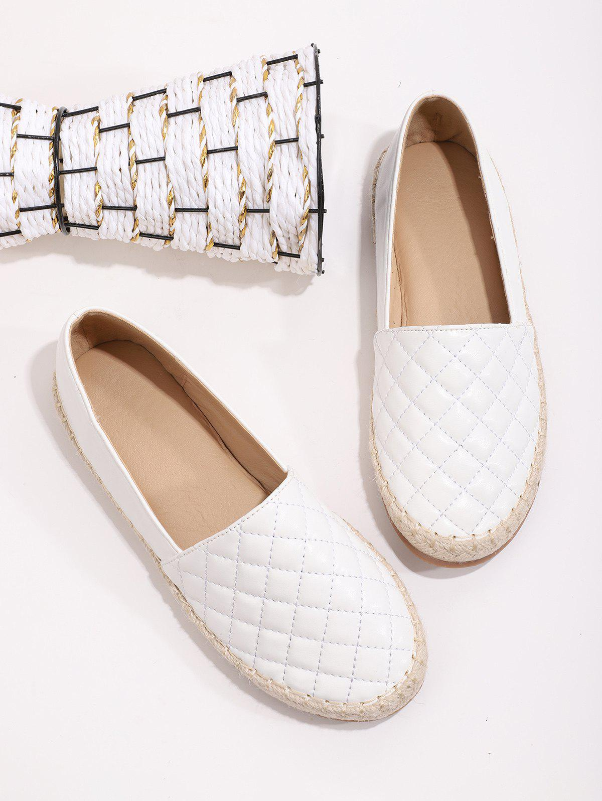 Quilted Leather Espadrilles Loafer Flat Shoes - WHITE EU 41