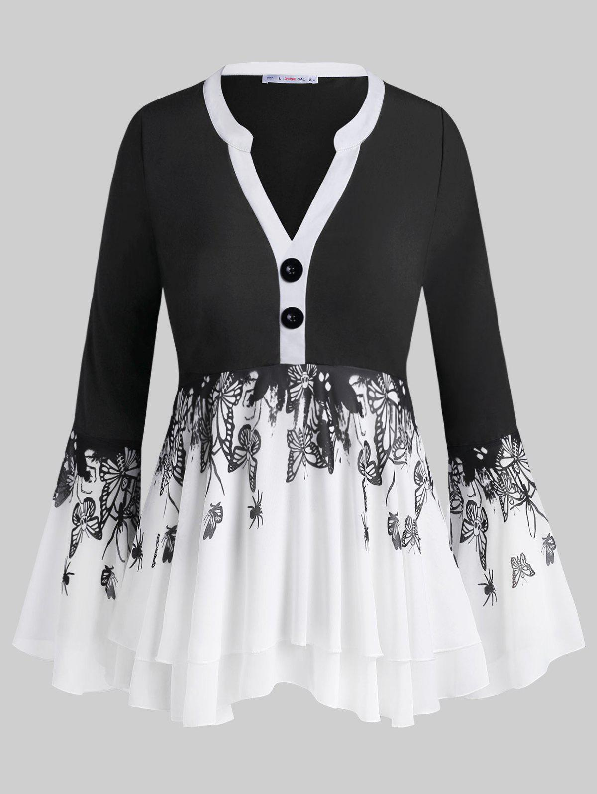 Button Front Insect Butterfly Layered Plus Size Blouse - BLACK 5X