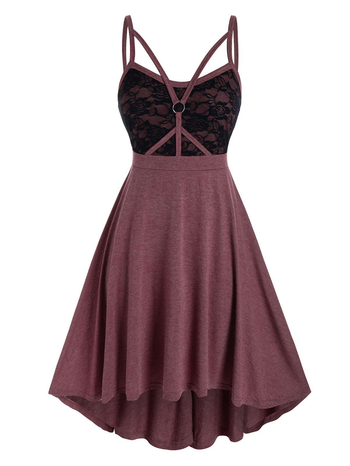 Plus Size Lace Insert Caged Strap Ring Cami Dress - RED WINE L