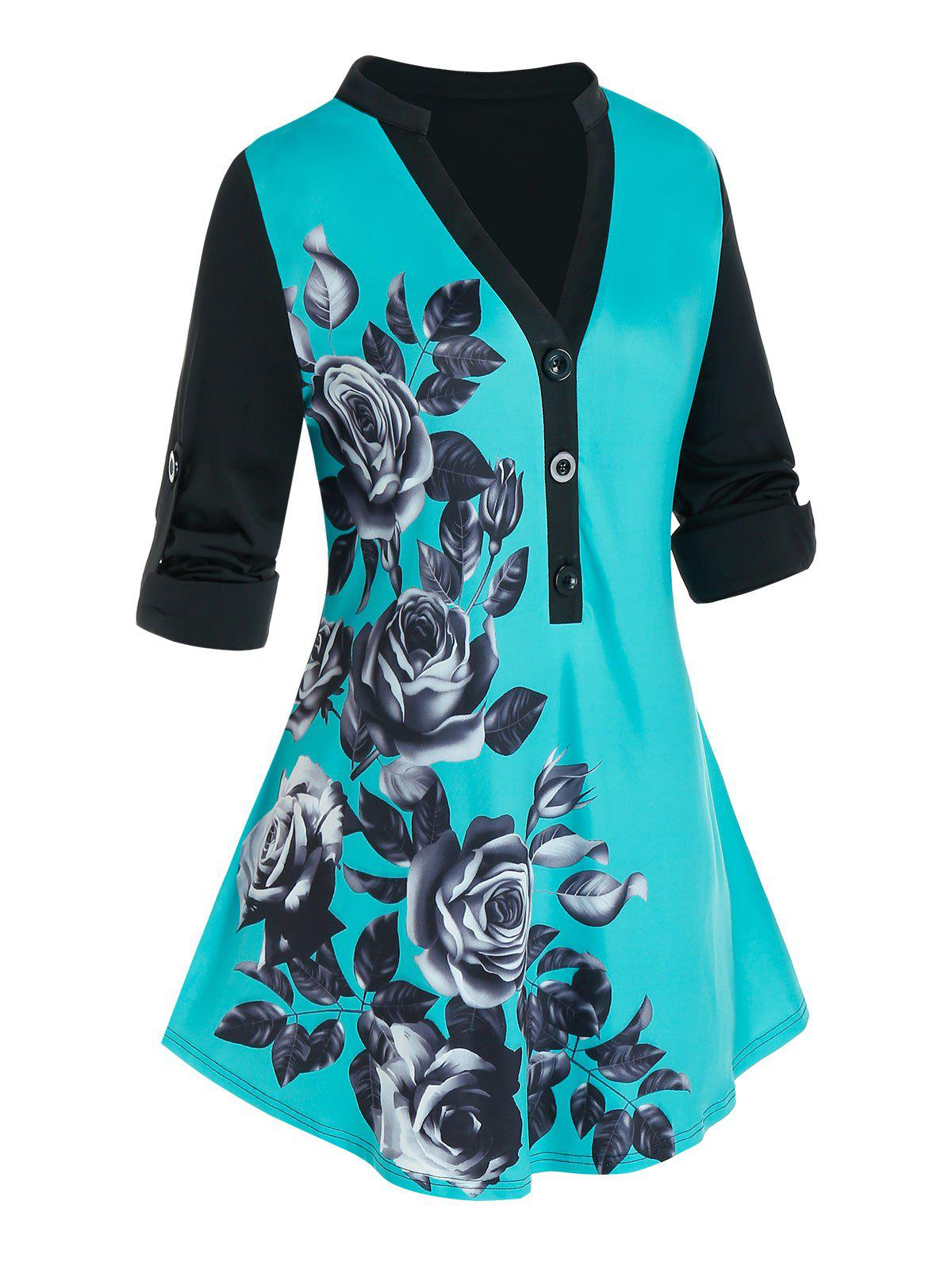 Plus Size Colorblock Flower Printed Blouse - MACAW BLUE GREEN 5X