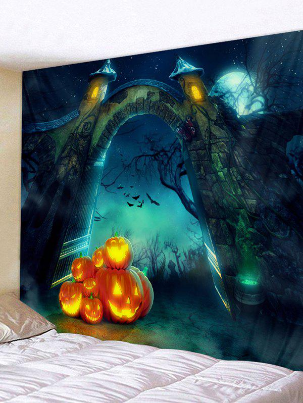 Halloween Pumpkin Arch Printed Wall Tapestry - LIGHT SEA GREEN W79 X L71 INCH