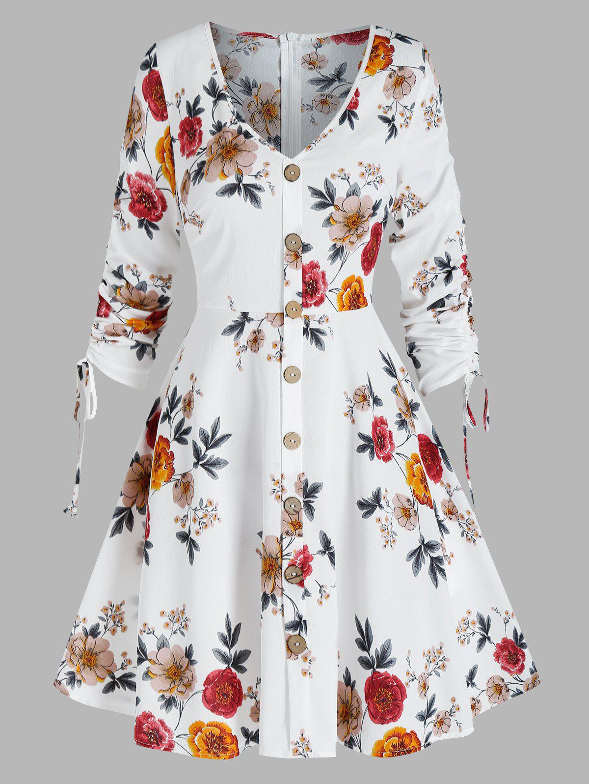 Floral Print Cinched Mock Button Dress - MILK WHITE 3XL
