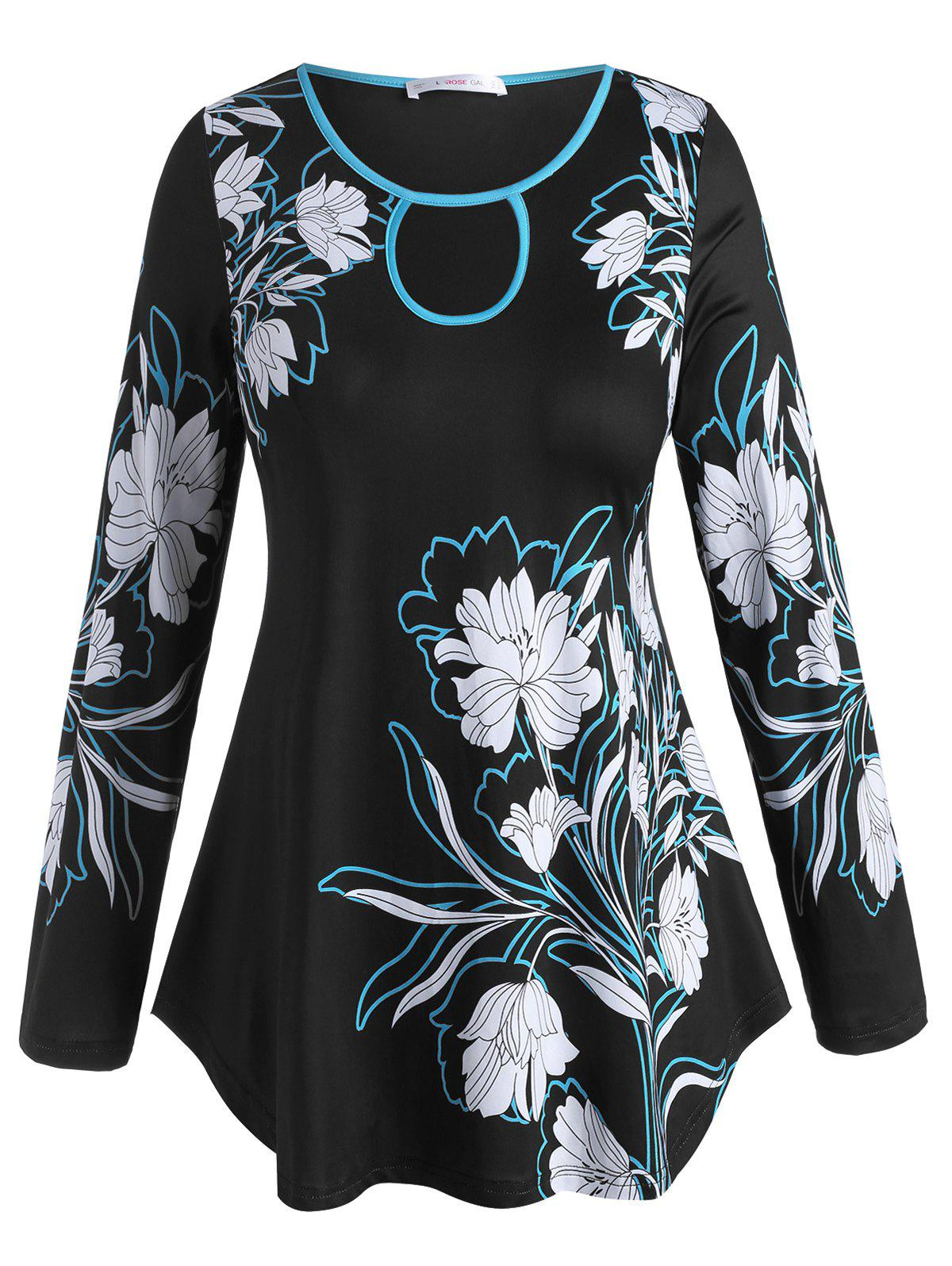 Plus Size Cutout Flower Pattern Long Sleeve Tee - BLACK 5X