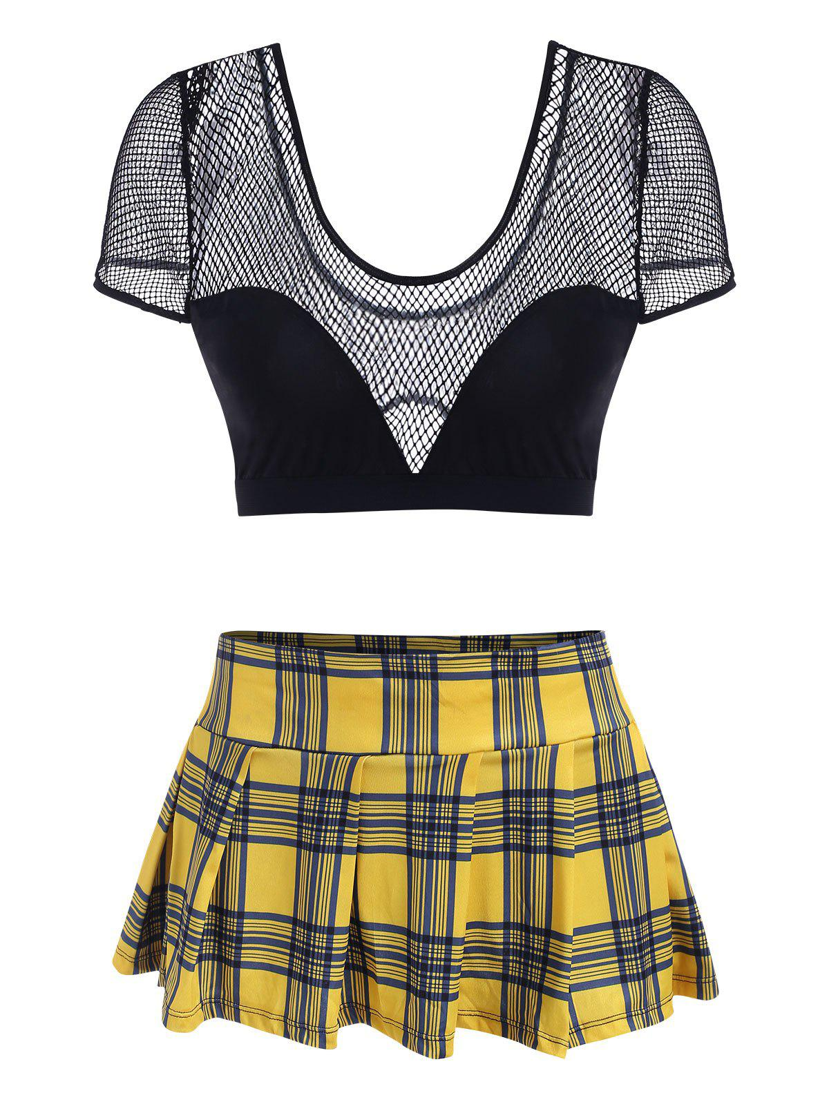 Plus Size Lingerie Plaid Skirt and Fishnet Top Set - YELLOW 4XL