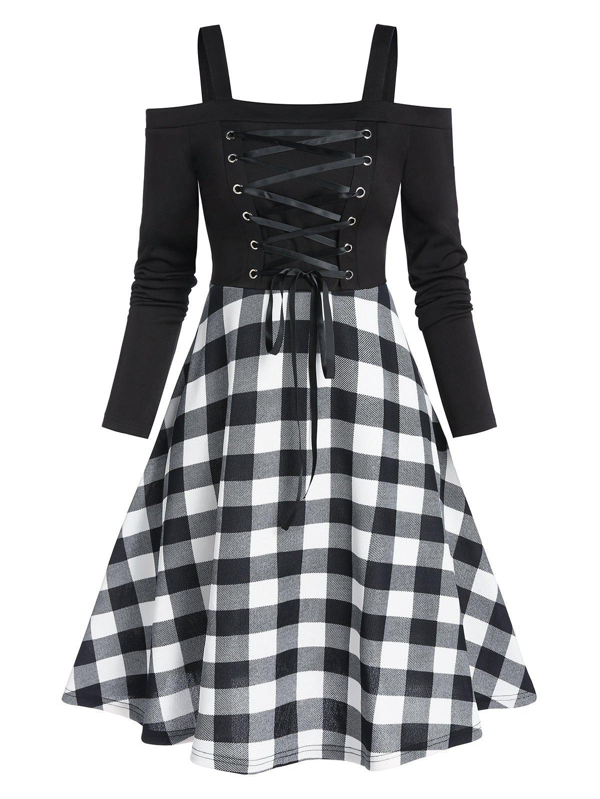 Plaid Print Lace Up High Waist Mini Dress - BLACK L