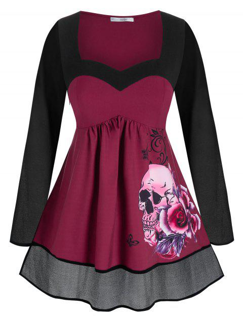 Plus Size Halloween Skull Flower A Line Tunic Top
