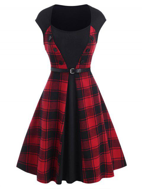 Plaid Belt Sleeveless Dress