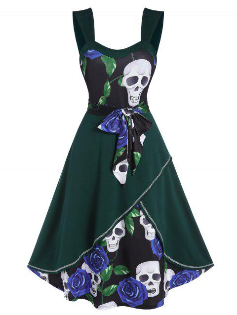 Floral Skull Print Belted Layered Cami Dress