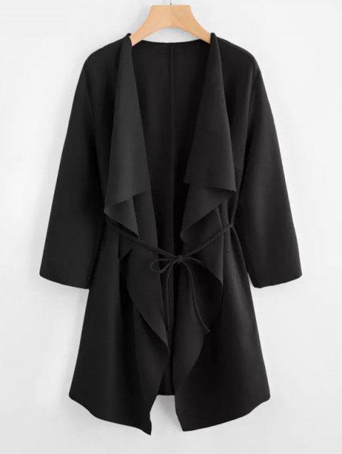 Plus Size Draped Front Belted Coat