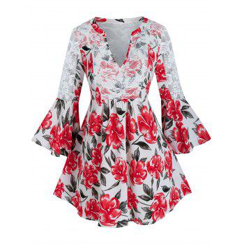 Plus Size Flower Print Lace Insert Bell Sleeve Blouse