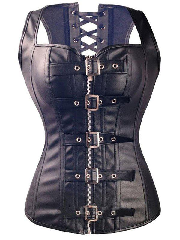 Faux Leather Boned Buckled Corset Vest - BLACK XL