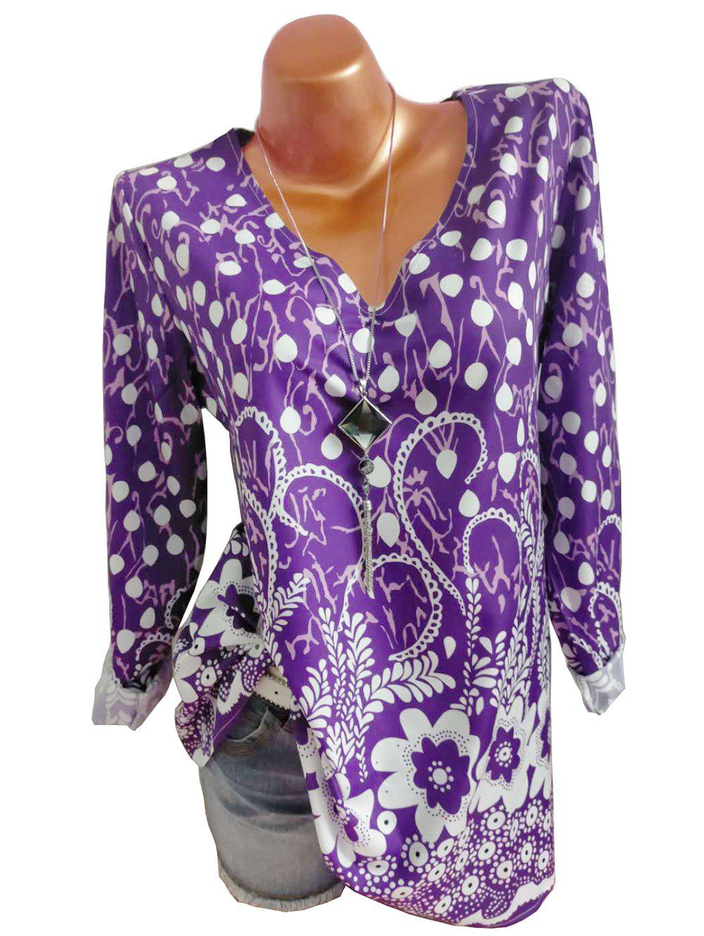 Plus Size Mixed Pattern Long Sleeve Pullover Blouse - CONCORD 4XL
