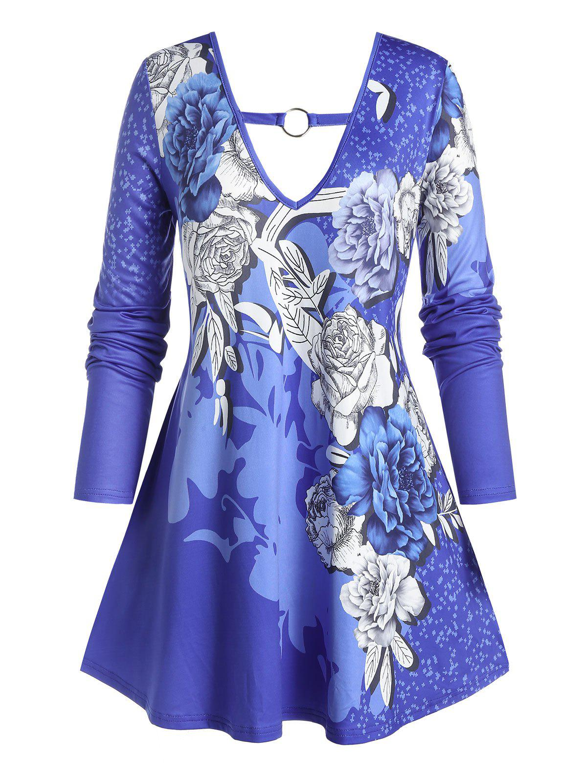 Plus Size Flower Print Ring Long Sleeve Tunic Tee - BLUEBERRY BLUE 5X