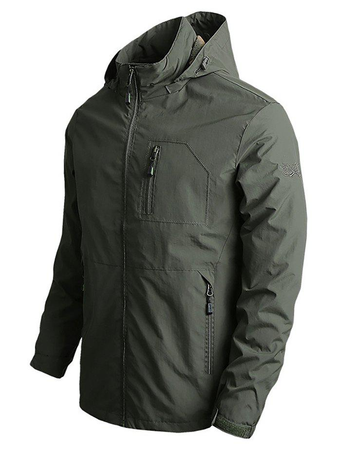 Embroidery Zipper Pocket Hooded Jacket - ARMY GREEN L