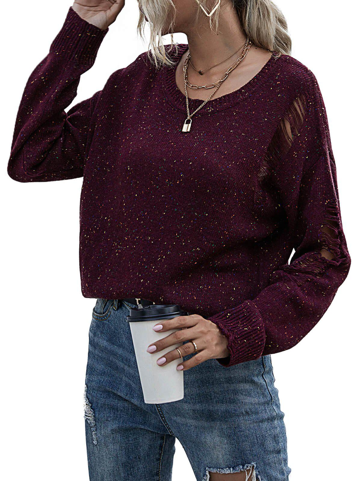 Ripped Distressed Confetti Knit Sweater - DEEP RED S