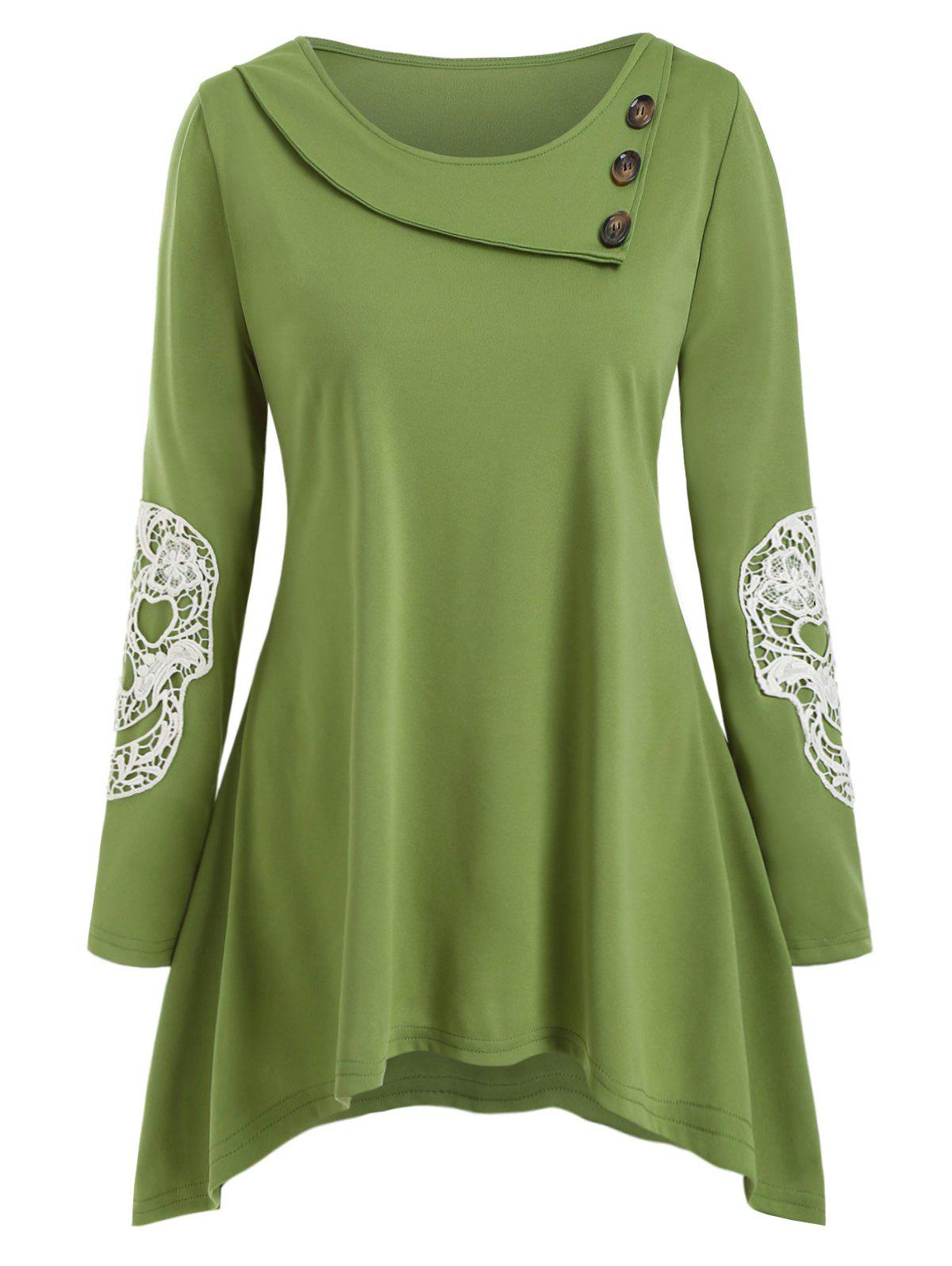Plus Size Halloween Skull Lace Insert Asymmetric T Shirt - GREEN 2X