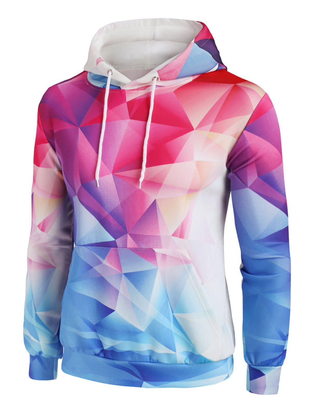 Colorful Diamond Geo Print Front Pocket Hoodie - RUBY RED M