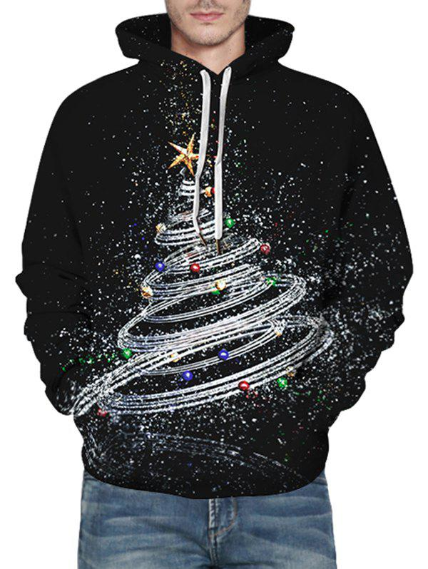 Shiny Christmas Tree Graphic Front Pocket Casual Hoodie - BLACK L