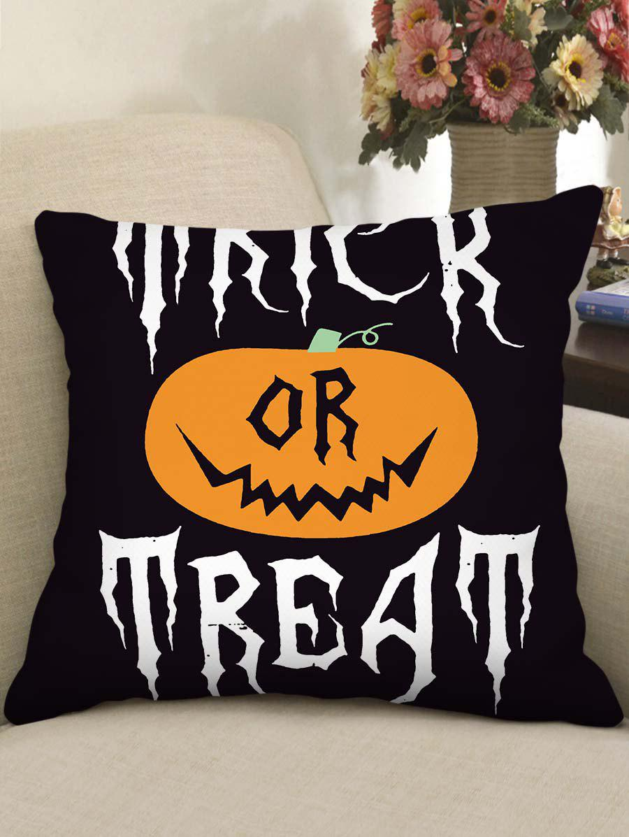 Halloween Pumpkin Witch Pattern Square Pillowcase - multicolor D
