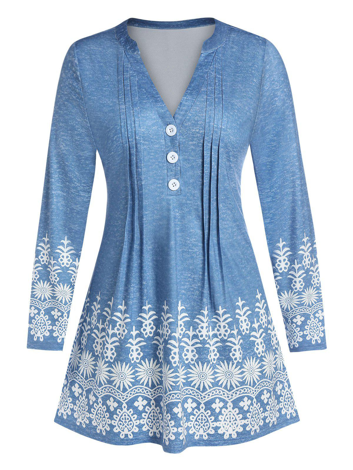 Plus Size Bohemian Button Floral Print Pleated Top - BLUE GRAY L