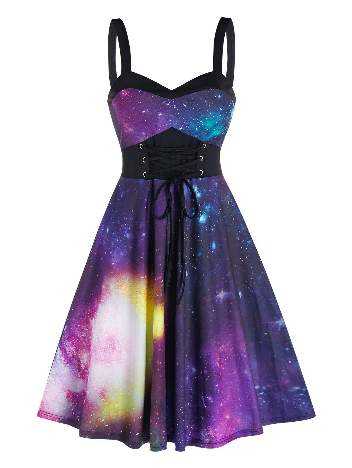 Empire Waist Starry Print Cami A Line Dress - BLACK 3XL