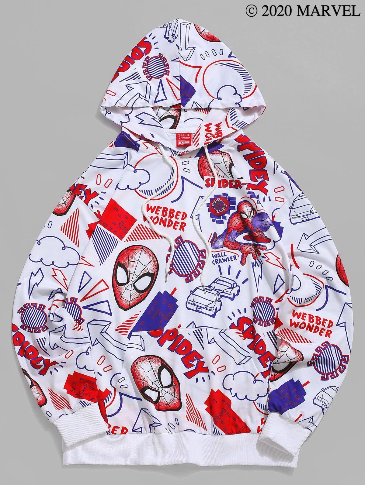 Marvel Spider-Man Cartoon Print Casual Pullover Hoodie - WHITE S