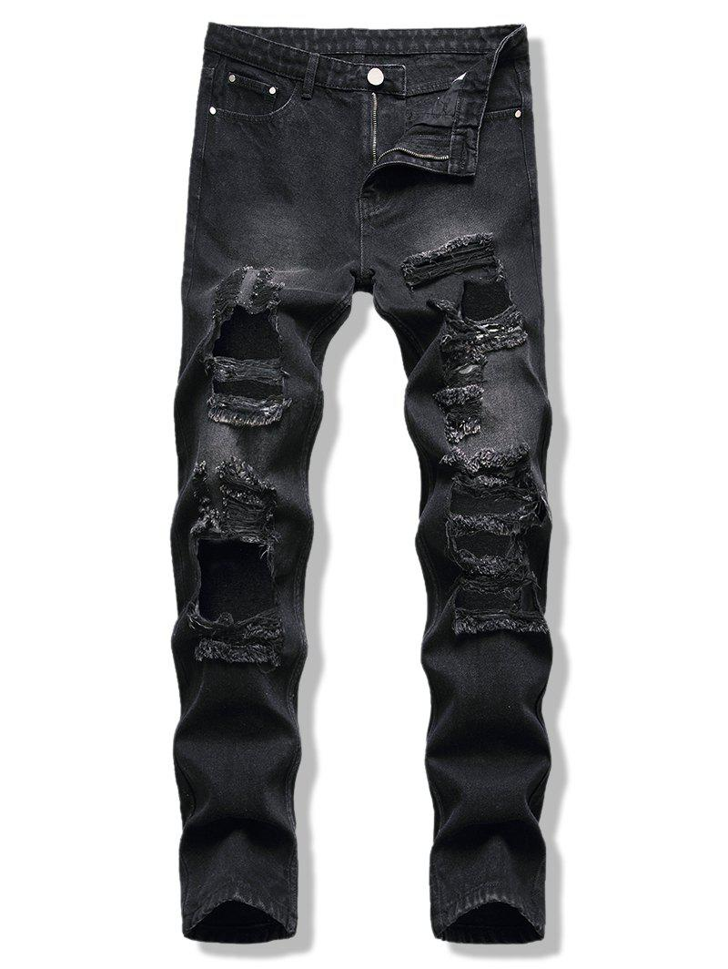 Zipper Fly Cut Out Destroyed Tapered Jeans - BLACK 38
