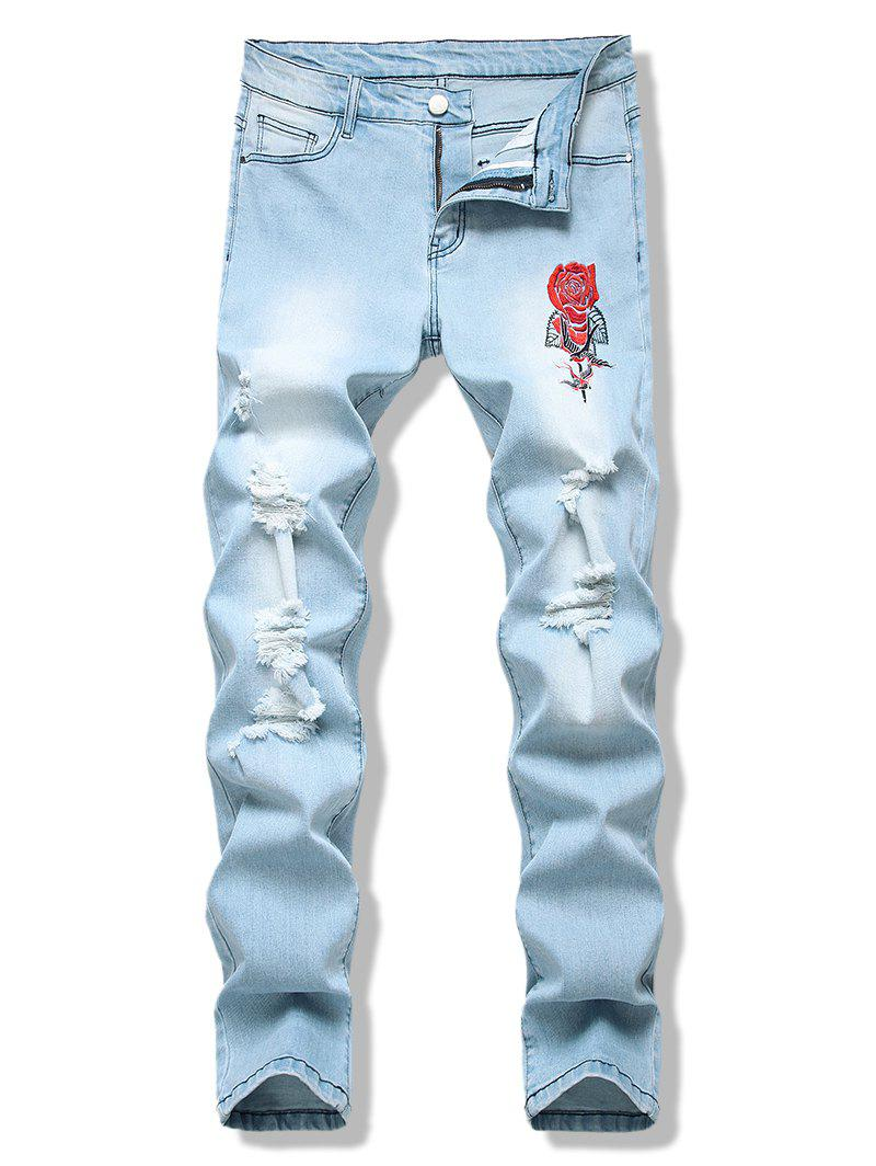Birds Rose Flower Embroidered Light Wash Destroyed Jeans - LIGHT BLUE 38