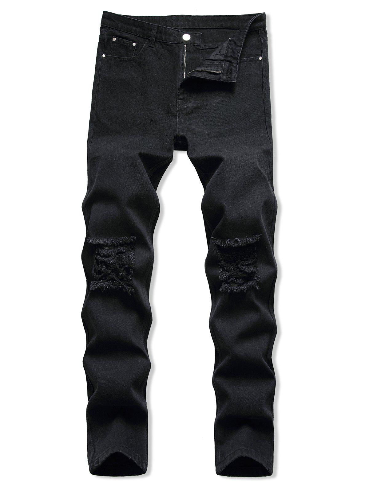 Dark Wash Ripped Zipper Fly Tapered Jeans - BLACK 38
