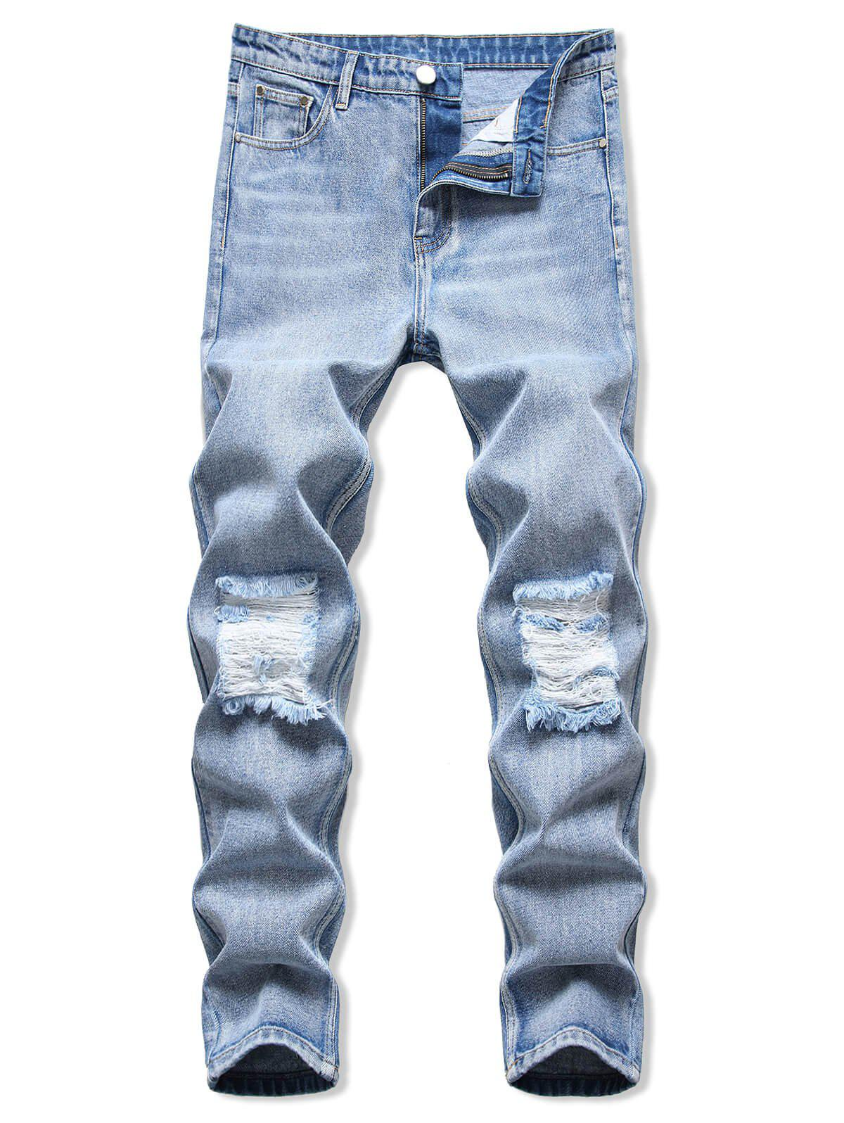 Ripped Acid Wash Tapered Jeans - LIGHT BLUE 36