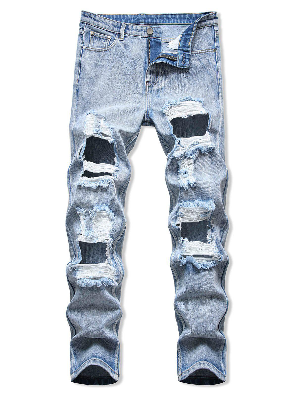 Cut Out Destroyed Acid Wash Tapered Jeans - LIGHT BLUE 38