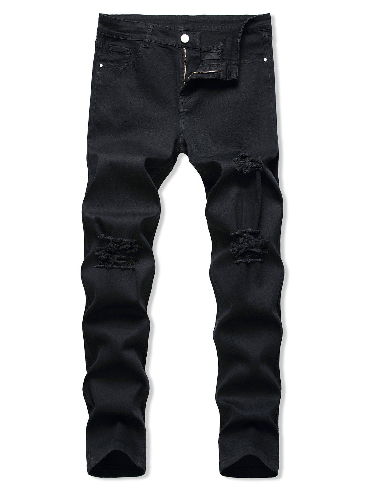 Ripped Zipper Fly Tapered Jeans - BLACK 34
