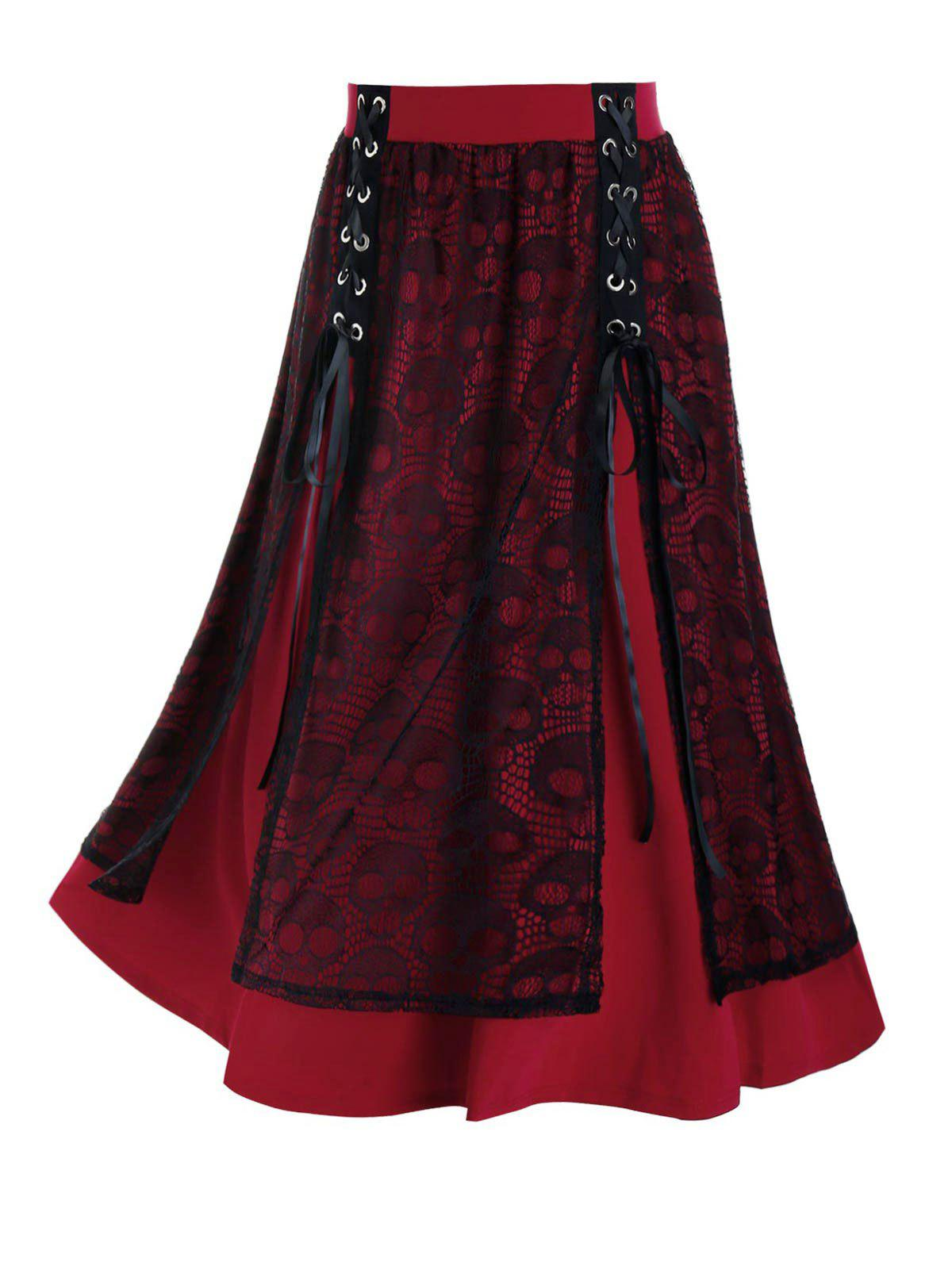 Plus Size Skull Lace A Line Lace-up Skirt - RED WINE 2X
