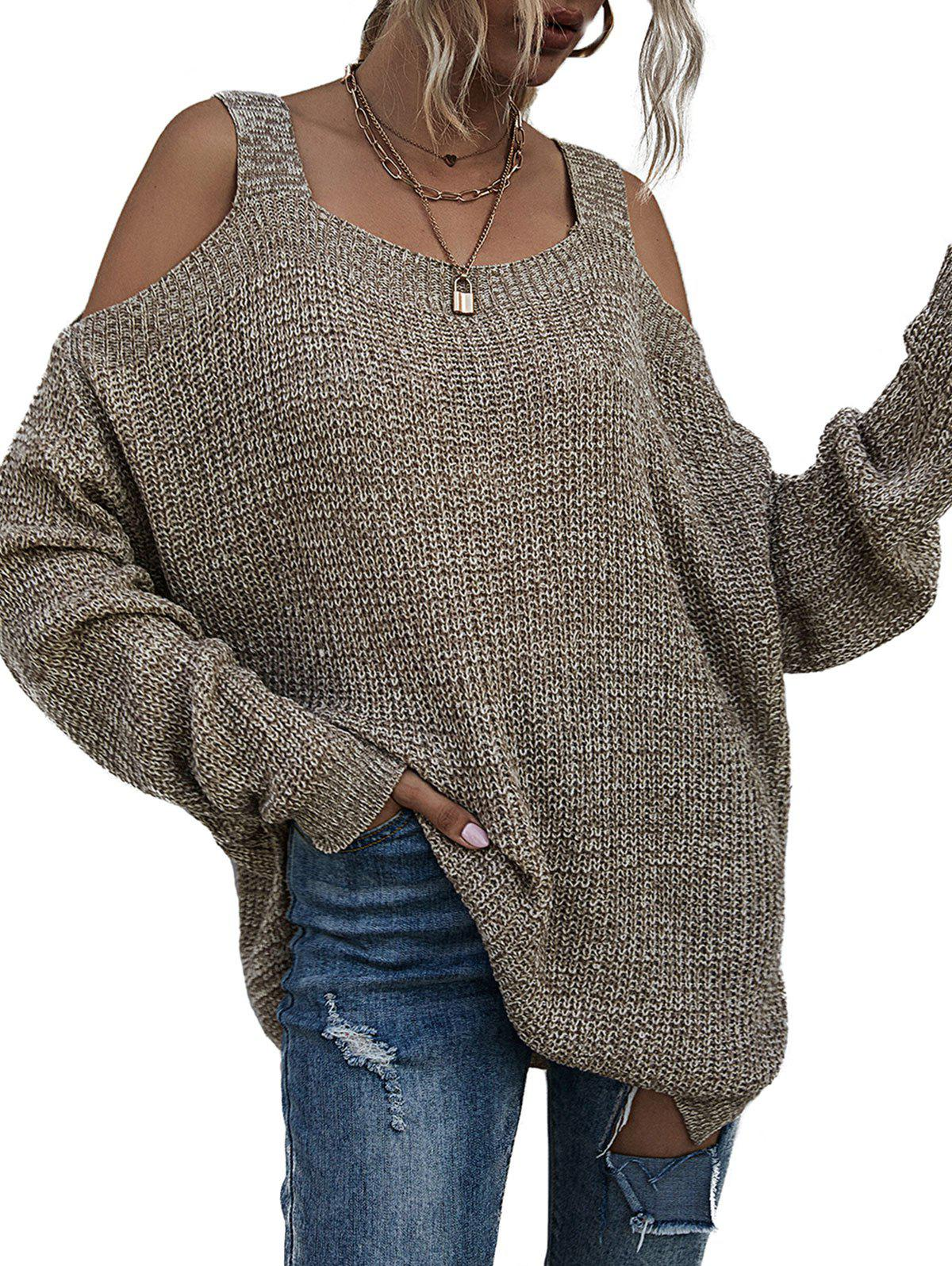 Cold Shoulder Space Dye Tunic Sweater - LIGHT COFFEE S