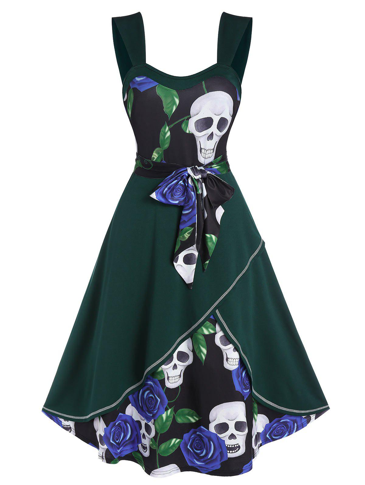 Floral Skull Print Belted Layered Cami Dress - multicolor A 3XL
